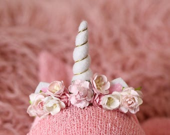 Newborn Unicorn Headband - Pink Flowers - White - Gold - Baby Mini White Unicorn Horn