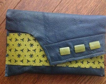 Navy and Lime Green Clutch