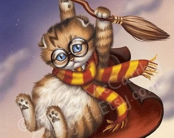 SALE Harry Potter Kitten - This little wizard in training is being taken for a ride on his Nimbus 2000 broom
