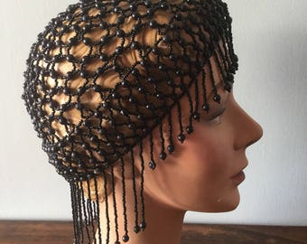 Truly amazing vintage black beaded head piece.