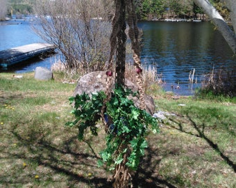 Placid Macrame Plant Hanger With Dark Brown Beads
