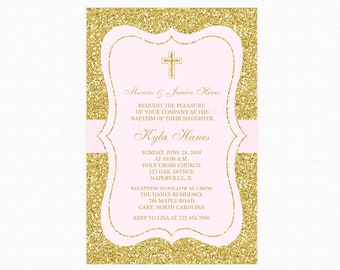 Baptism Invitation Girl, Christening Invitation, Blush Pink, Faux Gold Glitter, Personalized, Printable Invitation