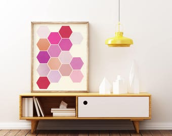 Minimalist Abstract Art, Geometric Honeycomb Art - Shades of Pink
