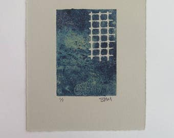 Small original abstract mono print  Collagraph with carborundum and stencil Oil based ink on beautiful Somerset Velvet paper Stef Mitchell