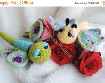 Summer Sale Cute Flutter Flies Crochet Pattern Adorable Dragonfly and Butterfly by Teri Crews