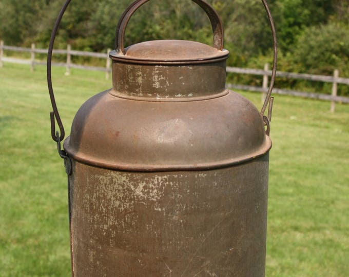 Antique Country Primitive Tin Cream Can; Small Rustic Metal Milk Can with Bale Swing Handle & Cover