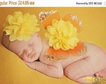 ON SALE Orange and Yellow Baby Girl Wings, Newborn Photography Prop, Baby Girl Prop, Newborn Wings, Baby Wings and Headband Set