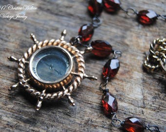 Garnets And Guidance--Antique Gold Filled Victorian Compass Fob Faceted Garnet Gemstone NECKLACE
