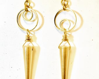Opposing Circles with Spike Brass Earrings