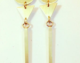 Brass 3-Tier Earrings