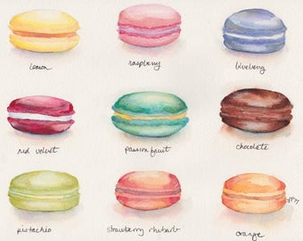 Macarons Menu Art - Original Watercolor Painting - Food Illustration Art - Colorful French Foodie Restaurant Art, 8.5x12