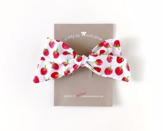 Oversize Summer Bow French Barrette in Strawberry Print, Schoolgirl Bow, giddyupandgrow