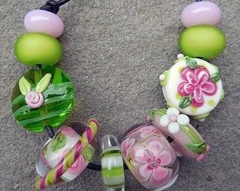 SALE Nantucket, Set 3 Lampwork Beads