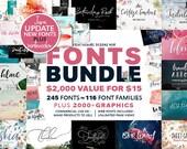 99% OFF, Fonts Bundle, Watercolor Clip Art, Digital Fonts, Wedding Font, Digital Paper, Script Font, Calligraphy Fonts
