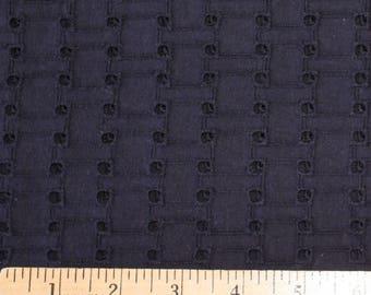 Navy Blue Basket Weave Eyelet Woven Cotton, 1 Yard
