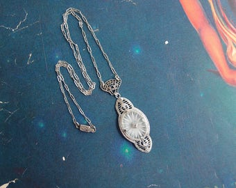Art Deco Camphor Glass Sterling Silver diamond Necklace
