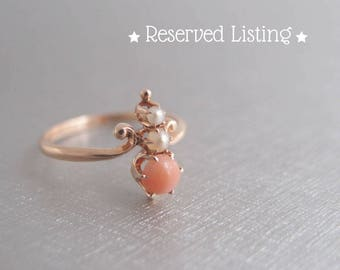 S O L D on Layway: Payment 2 of 2 for antique Halley's Comet 10k Rose Gold Ring Coral Pearl Victorian Edwardian M.B. Bryant Co size 6