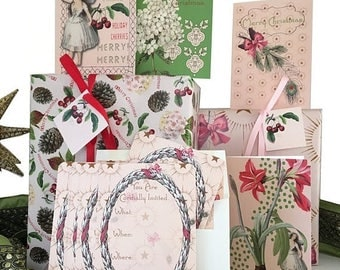 BLACK FRIDAY SALE Christmas fairy gift wrap kit with bows, tags, and peppermint scented greeting cards! Complete kit! Pink, Green, Red.