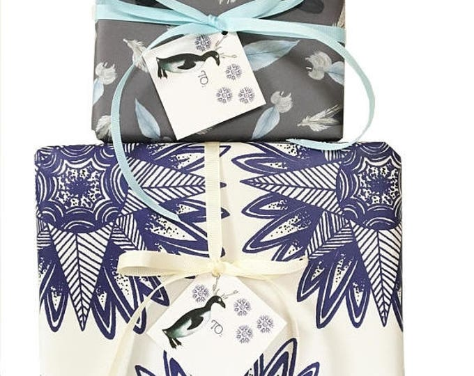 BLACK FRIDAY SALE Bohemian Christmas Gift Wrap Kit with blue penguins blue stars Outdoor Explorer