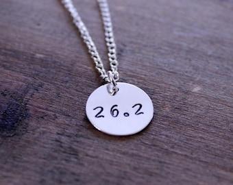 ON SALE Marathon Running Charm 26.2 Hand Stamped Personalized Silver Round: Sports