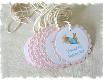 PETER RABBIT Favor Tags - By the Dozen - Image Only, 2 Line Message or Inked Edge Customizations Available