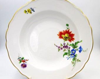 """Antique Meissen Round Bowl - Antique Meissen 9"""" Bowl With Qualifying Marks - 19th Century Meissen Floral Vegetable Bowl"""