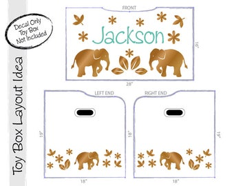 Elephants Personalized Toy Box Decal: Custom Name for Baby Nursery Decor, Toy Chest Removable Safari / Zoo Animals Decals (0177b)