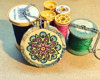 Blue Mandala  Hand Embroidered Mini Hoop Art Pendant