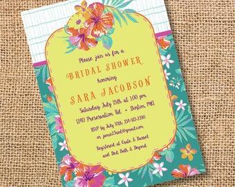 Bright Floral Tropical Invitation Summer Bridal Shower Poolside Baby Girl Shower Luau Birthday Party Polynesian Luau Tropics Birthday Invite