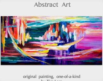 """sale Original Art painting huge Impasto Texture modern oil painting  Abstract Painting on gallery wrap linen canvas by Tim Lam 48""""  x 24"""""""
