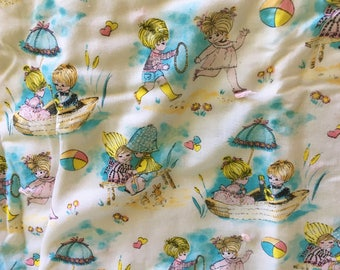 Mid-century Baby Blanket Holly Hobby Style Fabric Blue Pink Girl Boy Quilt