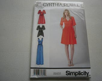 Pattern Women Dress Cynthia Rowley Sizes 14 to 22 Simplicity 1801 A