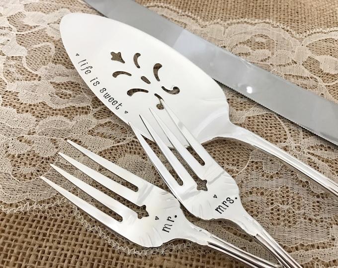"""Forks, cake server set """"flirtation / fredericksburg"""", hand stamped"""