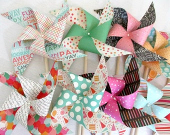 Birthday Favors Paper Pinwheels Bright Prints 12 Twirling Pinwheels Birthday Party Favors Baby Shower Favors Girl Birthday Favors