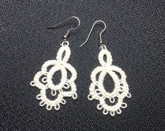 Tatting - Needle Tatted White Earrings - Ready to Ship