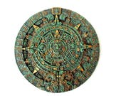 Vintage Aztec Calendar Sun Disk/ Maya Inca Wall Plaque/ Crushed Malachite/ Mexican Folk Art Wall Hanging/ Turquoise Gold