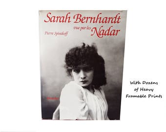 Sarah Bernhardt by Nadar/ Vintage French Art Book / Coffee Table Book /Black White Photography/ French Text/ Ready to Frame  Photo Plates
