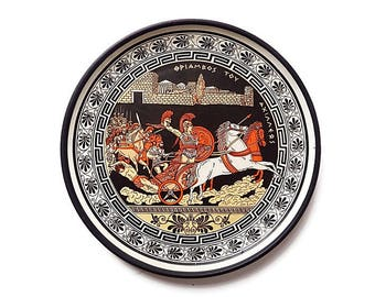 Vintage Greek Hand Painted Plate Wall Hanging - Greek Ceramic Classic Pottery Display Plate with Chariot and Spartan Warrior