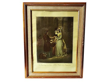 Antique CRIES OF LONDON Wheatly Sweet China Oranges Hand Colored Engraving , Professionally Framed