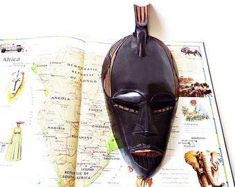 Vintage  Carved Wood Wall Mask - Ghana Hand Carved Tribal Mask - African Facial Mask