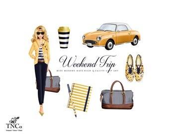 Fashion illustration - fashion girls - planner girl - Summer Clipart - Travel mug - Travel Journal - Commercial clipart - Planner clipart