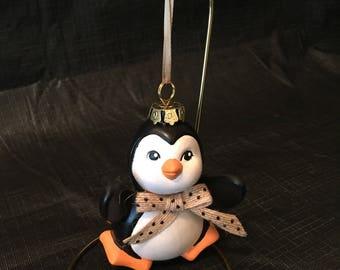 Penguin ornament, ceramic ornament, penguin ceramic ornament, Christmas ornament, Christmas ceramic ornament, Christmas penguin ornament,