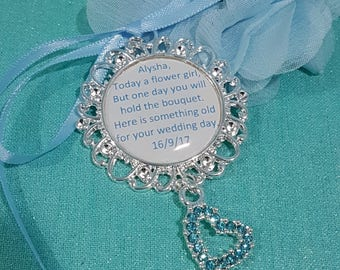 Flower girl keepsake charm - flower girl gift - today a flower girl one day a bride charm - something old charm - personalised charm
