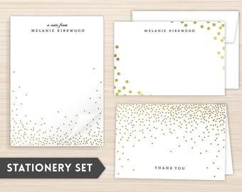 Personalized Stationery Set | Stationery Set | Custom Stationery | Personal Stationery | Custom Gift | Faux Foil Confetti