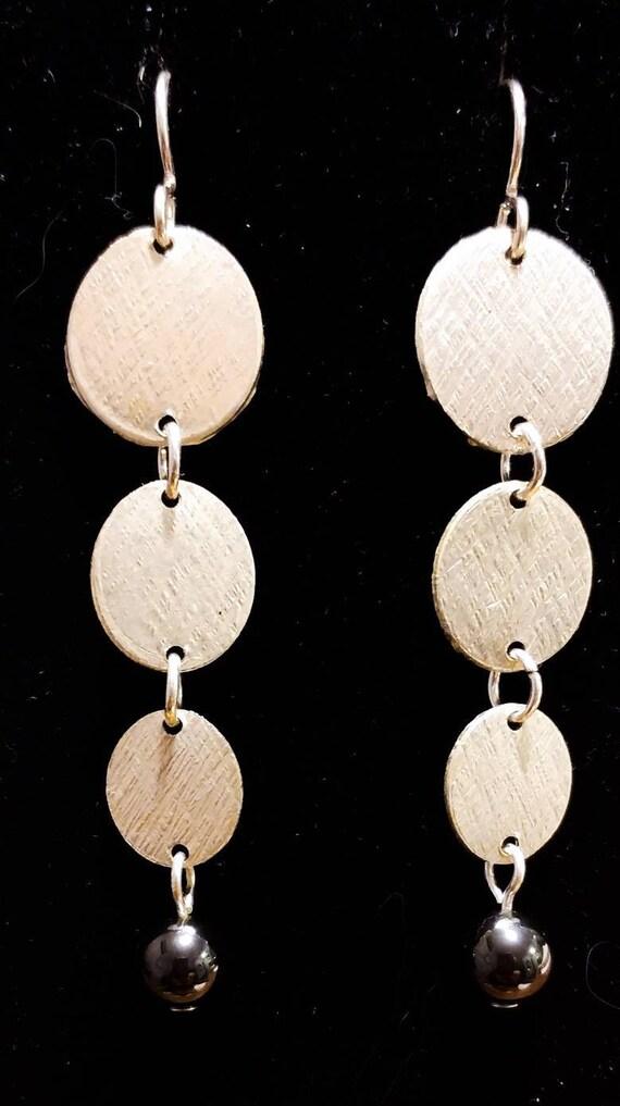 Textured Hematite Sterling Silver Drop Earrings