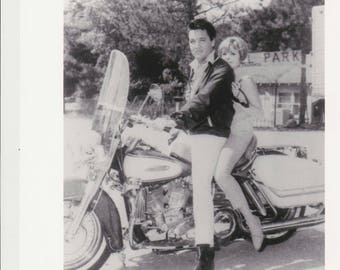 SPINOUT Photo Elvis Presley & Deborah Walley on Harley Davidson Motorcycle, Vintage Movie Promo  8x10 Black and White Pic