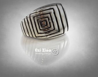 The Squares Stream Fit sterling silver ring by ezi zino jewelry designer