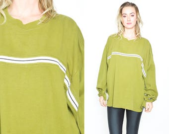 GREEN STRIPE SPORTY Round Neck Sweater. Long Sleeves Slouchy. Long Sweater Athletic Sportswear. Vintage 1990's Grunge Minimalist Size Large
