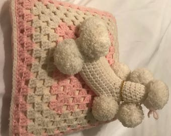 Vintage Poddle knitted pillow pink & white