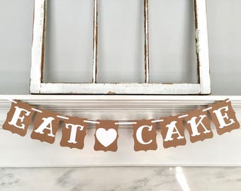 EAT CAKE banner, birthday party, baby shower, bachelorette party, bridal shower, wedding banner, kraft and white